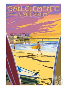 San Clemente, California - Beach and Pier Print by Lantern Press at Art.com