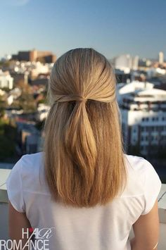 Quick and Easy Hairstyles for Straight Hair - HALF UP HAIRSTYLE TUTORIAL - Popular Haircuts and Simple Step By Step Tutorials and Ideas for Half Up, Short Bobs, Long Hair, Medium Lengths Hair, Braids, Pony Tails, Messy Buns, And Ideas For Tools Like Flat Irons and Bobby Pins. These Work For Blondes, Brunettes, Twists, and Beachy Waves - http://thegoddess.com/easy-hairstyles-straight-hair #PromHairstylesStraight