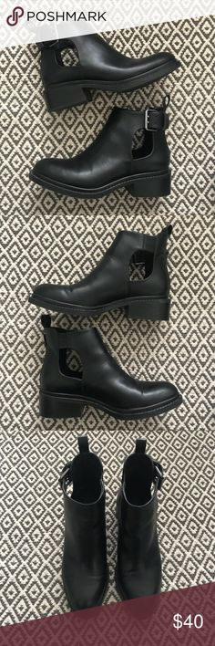 Zara Basic Collection Black boots w/cut outs Black boots with cute silver buckle. Worn once and are in great condition. Perfect for festival wear. Zara Shoes Ankle Boots & Booties