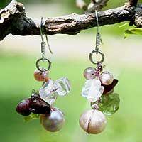 Rosy Dawn-Pearl and peridot cluster earrings