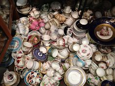 Piles of China at a flea market in London...