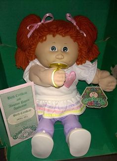 Cabbage Patch Kid 1985 Erma Jill Pacifier Girl Red Ponies Green Eyes Heart Dress
