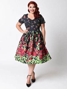 Unique Vintage Brand Plus Size 1950s Floral Bouquet Whitman Swing Dress