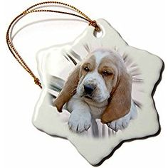 Basset Hound Puppy Snowflake Porcelain Christmas Ornament, 3-Inch
