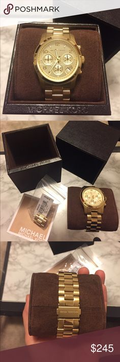 NWT Michael Kors Cronograph Watch Gorgeous never worn Michael kors watch. Gold band. Cronograph face. A beauty!!! Retail at $250. Extra link included and manual. Needs new battery Michael Kors Accessories Watches