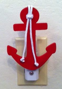 Nautical Baby Nursery Anchors Away! Red Nautical Anchor Night Light  Nautical by PrettyAdorableThings, $10.00