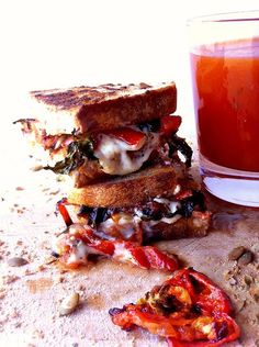Yes! This Grilled Cheese Sandwich is #Vegan: Jalapeno Garlic Havarti With Roasted Tomato, Garlic, and Basil on Pumpkin Sage Boulot