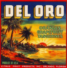 Orlando Florida Del Oro Brand Orange Citrus Fruit Crate Label Art Print | eBay