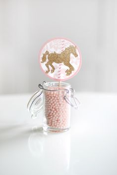 Printable pink and gold carousel cupcake toppers -  Party circles - First birthday - Customizable by PrettiestPrintShop on Etsy https://www.etsy.com/listing/182893443/printable-pink-and-gold-carousel-cupcake