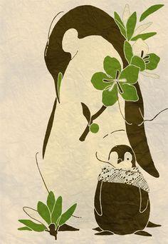 Penguin parent and child