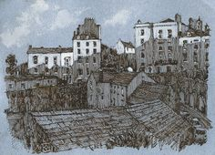 Tenby, Wales, Pembrokeshire, pen and ink, drawing Rob Adams, Wales, Illustrations, Ink, Drawings, Painting, Welsh Country, Illustration, Painting Art