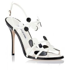 Manolo Blahnik Merlota black white sandal (€500) ❤ liked on Polyvore featuring shoes, sandals, white, white sandals, strappy high heel sandals, black and white shoes, high heel sandals and leather sandals