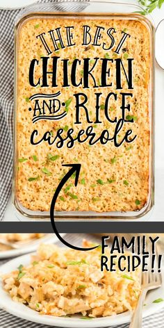 This classic chicken and rice casserole is a hearty family favorite. Creamy and delicious, tender chicken is mixed with cream soup, rice, and seasonings for an award-winning dinner. dinner recipes Chicken and Rice Casserole Easy Casserole Recipes, Casserole Dishes, Casserole Ideas, Easy Rice Recipes, Creamed Mushrooms, Food Dishes, Main Dishes, Family Meals, The Best