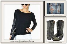 DESIGNER KIPPY'S & ON SALE!!!  Kippy's Swarovski Crystal and Leather Iron Cross & Details Denim Jean Designer Western Skirt/ Faux Leather Long Sleeve Sexy Top/ Cross Genuine Black Leather Cowgirl Boots  #Kippys #designers #skirt #crystal #leather #miniskirt #denim #jean #cross #chain #womens #clothing #blue #fashion #black #brown #boots #cowgirl #western #top #shirt #longsleeve #studded #wholesale #embroidery #wings #onlineshopping #rocknroll