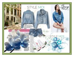 """""""StyleMoi Denim Jacket"""" by maja9888 ❤ liked on Polyvore featuring Lee, Converse and RVCA"""