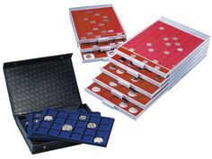 These individual stackable coin drawer trays are truly flexible and will safely store, organise and display your coin collection. The compartments are precisely made to ensure the coin, capsule or holder fits snuggly, yet at the same time is easily removable. Each drawer can be used as a standalone item, stacked with other drawers or can be stored in the special Aluminium Coin Collectors Cases