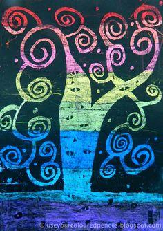 Klimt Scratch Art: an art class project inspired by Austrian painter Gustav Klimt's 1909 painting 'Tree of Life'. Seen on the blog of a Western Australian artist and art teacher, at http://useyourcolouredpencils.blogspot.ca