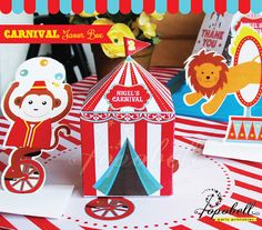 Circus Favor Box for Circus Birthday Party. Carnival by Popobell