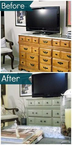 A beautiful furniture makeover using Annie Sloan chalk paint in Chateau Gray. See the amazing before and after by kathleen
