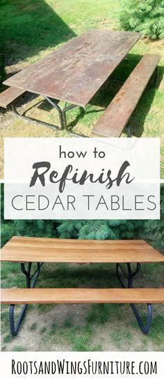 This Old Cedar Picnic Table Had Seen Better Days Furniture Refinishing To The Rescue Sealed With General Fi With Images Picnic Table Painting Furniture Diy Cedar Table