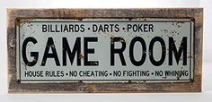Game Room House Rules Metal Street SignOn Handmade Rustic Reclaimed Wood Frame Billiards Poker Darts Gaming Mancave Den Wall Dcor *** Check out this great product.