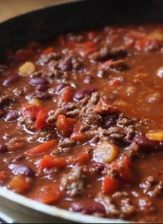 Chilli con carne - in addition to listed ingredients - add oxo vege stock cube, 4 x dried red chilli's, tsp smoked paprika, 4 caps cider vinegar & tbsp dark brown sugar, double the chilli & cumin & add 4 bay leaves