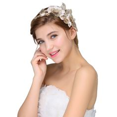 Nymph Code Bridal Lace Flower Leaf Clear Crystal Hair Band Headband for Women Gold Tone -- This is an Amazon Affiliate link. To view further for this item, visit the image link.