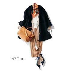 冷え込みそうな日はコートの下にカーディガンの重ね着でぽかぽかに♡Marisol ONLINE 女っぷり上々!40代をもっとキレイに。