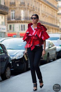 avant garde top with skinny pants Giovanna Battaglia