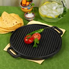 Casa Maria Double Reversible Round Grill/Griddle Pecan.  #Pecan #Kitchen