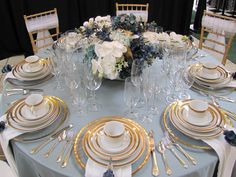 Soft blue linens and gold-edged glass chargers. Wedding Color Schemes, Wedding Colors, Wedding Reception Decorations, Wedding Ideas, Blue Table Settings, Blue Gold Wedding, One Sweet Day, Fru Fru, Wedding Events