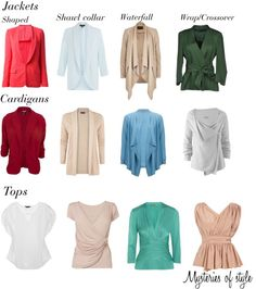 Jackets, cardigans and tops for full hourglass body shape