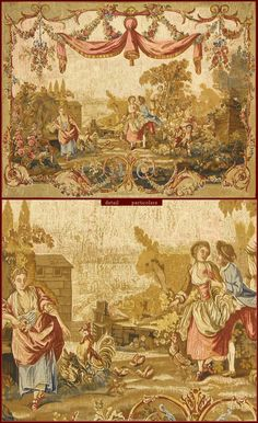 """Tapestry De Rambouillet - Polychrome reproduction on textile of """"Le Mai"""" tapestry (Ateliers di Beauvais, end XVIIIth. Cent.)."""