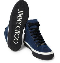 Jimmy Choo - Belgravia Waxed-Suede High Top Sneakers | MR PORTER [Via Menswear Style]