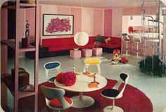 16 rooms showcasing popular colors from 1966 - Retro Renovation 1960s Interior Design, Italian Interior Design, Classic Interior, Flat Interior, Modern Interior, Retro Room, Vintage Room, Vintage Decor, Vintage Modern