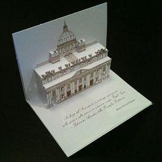 Wedding invitation 3D pop-up kirigami postcard created for Serena Addessi, Italy