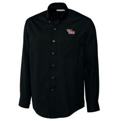 Arkansas State Red Wolves Cutter & Buck Big & Tall Epic Easy Care Fine Twill Long Sleeve Button-Down Shirt - Black