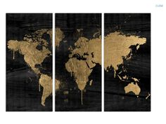 Pinterest challenge gold leaf map art canvases gold and craft gold and black world map gumiabroncs Image collections