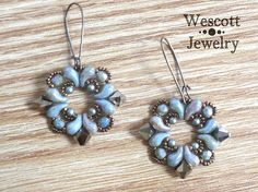 Chalk Lazure Blue and Bronze Buta Paisley Earrings with Bronze