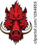 Clipart Of A Red Vicious Boar Mascot Head Royalty Free Vector Illustration by Seamartini Graphics