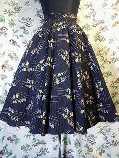 画像1: '50s vintage skirt〜サーキュラー×キルト×小鳥柄〜