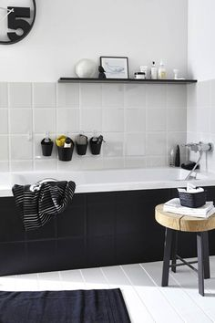 small bathroom remodel into a modern bathroom with with a legendary black touch Laundry In Bathroom, White Bathroom, Bathroom Interior, Modern Bathroom, Small Bathroom, Bathroom Ideas, Master Bathroom, Nature Bathroom, 50s Bathroom