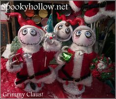 Grimmy Claus is about 12-14 inches tall, hand sculpted and one of a kind. He is signed and dated and shipped with love via priority mail! outfits