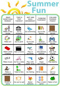 "The post ""Here& a chart I created to help us think of things to do this summer. With The Trip Clip& weekly schedule, you can easily create your own version of this chart with ideas of all sorts of fun& appeared first on Pink Unicorn Kids Summer Schedule, Summer Fun List, Toddler Schedule, Summer Activities For Kids, Camping Activities, Summer Kids, Family Activities, Toddler Activities, Preschool Schedule"