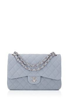 Chanel ~ Pastel Blue Iridescent Quilted Matte Caviar Jumbo Classic Bag by Madison Avenue Couture for Preorder on Moda Operandi