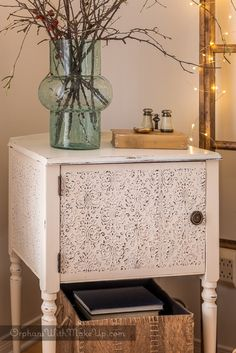 Faux Tin Tiled Sewing Cabinet Makeover by Orphans with Makeup - DIY Furniture Makeovers Repurposed Furniture, Shabby Chic Furniture, Rustic Furniture, Painted Furniture, Diy Furniture, Vintage Furniture, Furniture Refinishing, Furniture Outlet, Bedroom Furniture