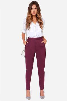 Burgundy high waisted pants
