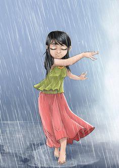 dancing in the rain by niqwoz on DeviantArt Art Drawings Sketches, Cartoon Drawings, Cartoon Art, Cute Drawings, Rain Cartoon, Art And Illustration, Illustrations, Beautiful Fantasy Art, Rain Images Beautiful