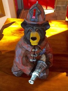 "WOW! REDUCED! Large 13""  Black Bear W/Red Hat + Fire Hose"