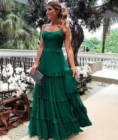 Espaguete Longo A linha Verde Chiffon Vestidos de baile, Vestidos de noite - Prom Dresses - Vestido de Festa Elegant Dresses, Pretty Dresses, Beautiful Dresses, Sexy Dresses, Summer Dresses, Long Dresses, Casual Dresses, Tight Dresses, Fall Formal Dresses